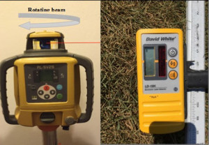 Figure 2. Rotary laser (left) and laser detector mounted to rod marked with inches and fractions (right).